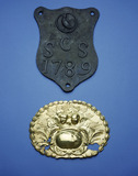 Parish boundary plate and coffin plate: 18th and 19th century