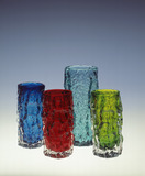 Selection of textured whitefriars vases: 20th century
