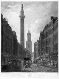 View of Fish Street Hill, from Grace Church Street, representing the Monument and the Church of St Magnus, London Bridge: 1795