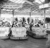 Couples on the dodgems ride, Battersea Park fun fair: 1966