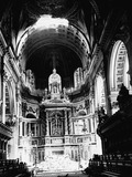 Interior of St. Paul's Cathedral after a bomb explosion: 20th century