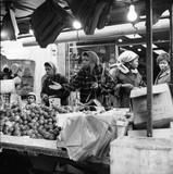 Four women at a market stall, Portobello Road: 1960