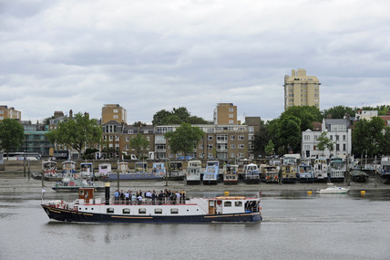Houseboats moored along the Chelsea Embankment; 2009