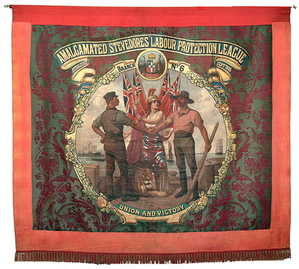 Banner of the 'Amalgamated Stevedores Labour Protection league' Branch No.6.:1904