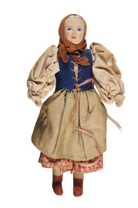 A cloth doll,  in a peasant's costume; c1950