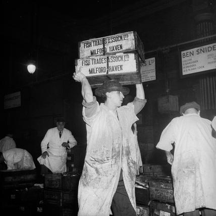 A Porter at Billingsgate Fish Market: c.1955