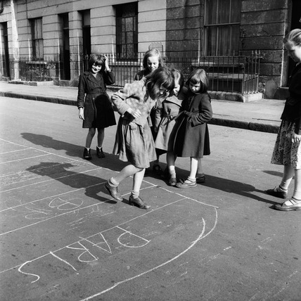 Children playing hopscotch in Ladbroke Grove: c.1957