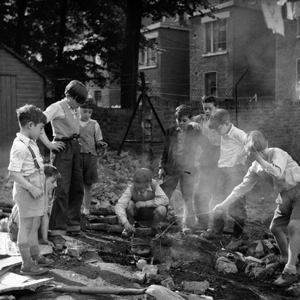 Bonfire at Clydesdale Road Adventure Playground: c.1958