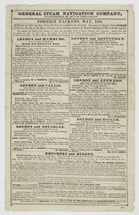 General Steam Navigation Company timetable: 1835