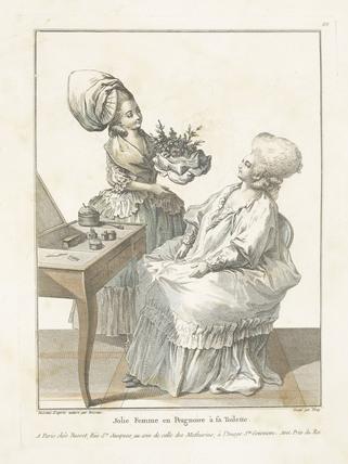 Jolie Femme en Pergnoire a sa Toilette: 1780