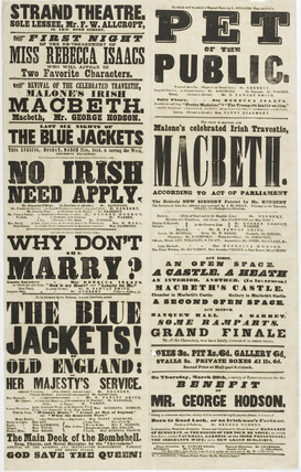 A poster for the Strand Theatre; 1854