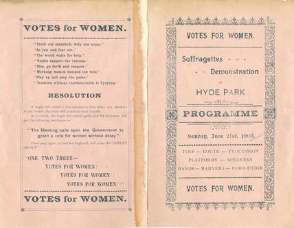 Programme for Women's Sunday: 1908