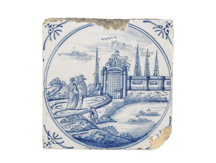 Tin-glazed earthenware tile: c. 1700-1800