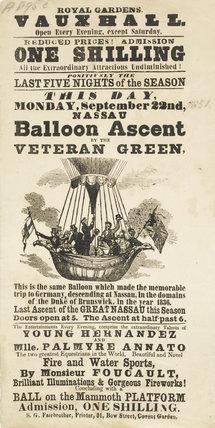 A poster announcing a balloon ascent; 1851