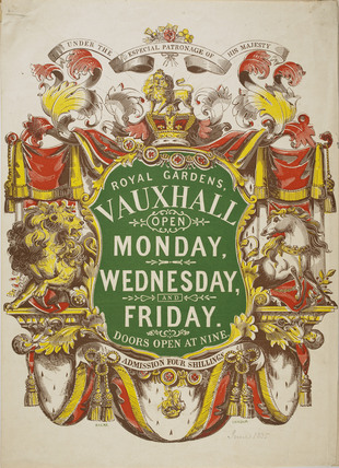 Colour poster advertising the Royal Gardens Vauxhall