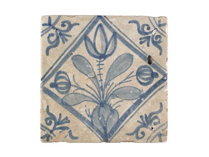 Tin-glazed earthenware tile: c. 1638-1663