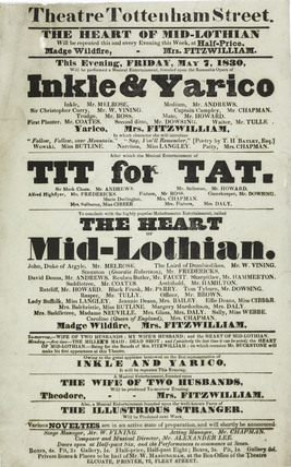 A poster for a theatre on Tottenham Street; 1830
