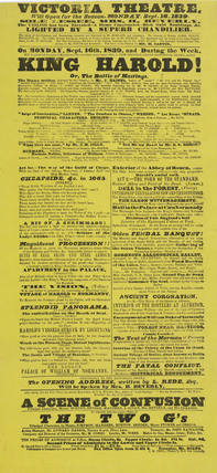 A poster for the Victoria Theatre; 1839