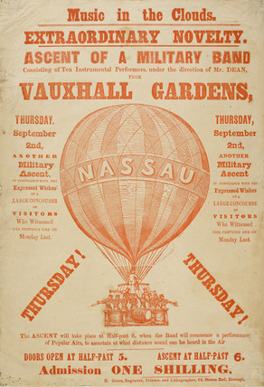 A poster announcing a 'balloon ascent of a military band' 1850-1852