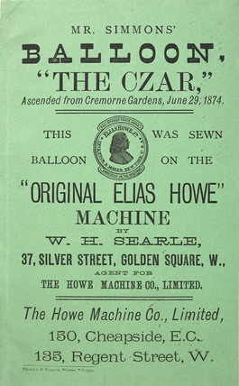 Poster advertising the 'Original Elia Howe' sewing machine; 1874