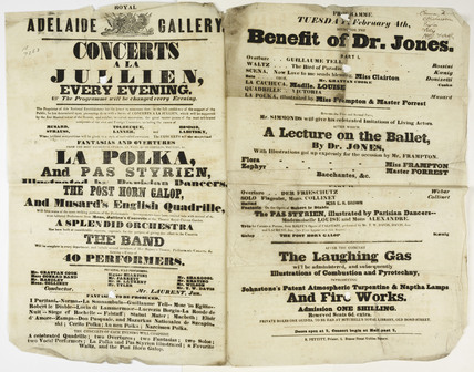 Double column playbill announcing a programme of entertainment and concerts at the Royal Adelaide Gallery: c.1845