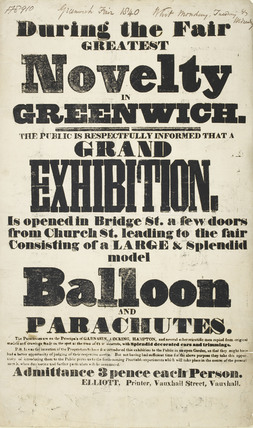 A poster of an exhibition in Greenwich; 1840
