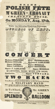 A poster announcing a Polish Fete and balloon ascent; 1840