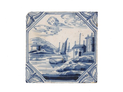 Tin-glazed earthenware tile: c. 1740-1780