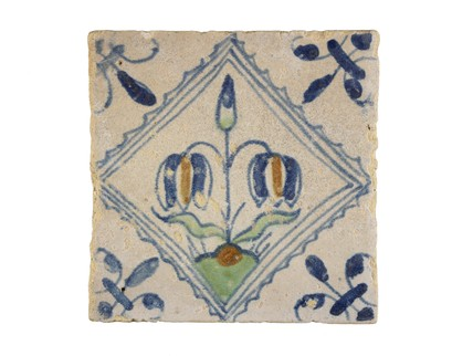 Tin-glazed earthenware tile: c. 1638-1663