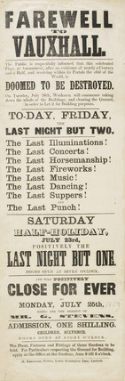 A poster announcing the closure of Vauxhall Gardens; 1859