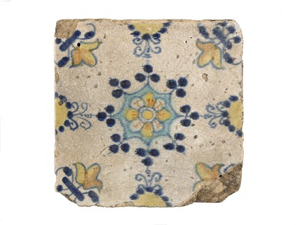 Tin-glazed floor tile: c. 1618-1663
