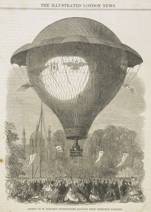 The 'ascent of M. Godard's Montgolfier balloon from Cremorne Gardens; 1864