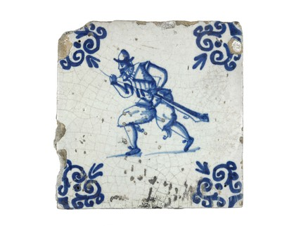 Tin-glazed earthenware wall tile: c. 1621-1650