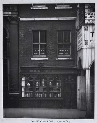 A view of the facade of Birch's Confectionary Shop; 1912