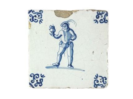 Tin-glazed earthenware wall tile: c. 1641-1660