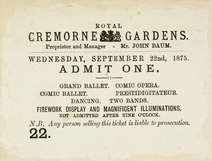 printed admission ticket for the Royal Cremorne Pleasure Gardens, dated Wednesday September 22nd 1875