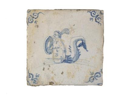 Tin-glazed earthenware tile: c. 1640-1680