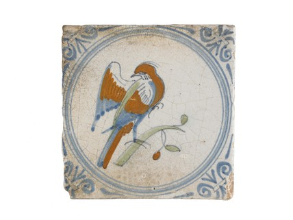 Tin-glazed earthenware tile: c. 1630-1650