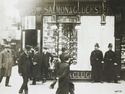 Broken windows at Salmon and Gluckstein: 1912