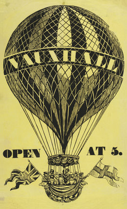 Vauxhall Pleasure Gardens ballooning poster; 1830-1836