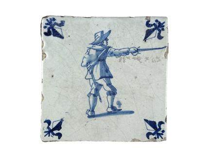 Tin-glazed earthenware wall tile: c. 1651-1700