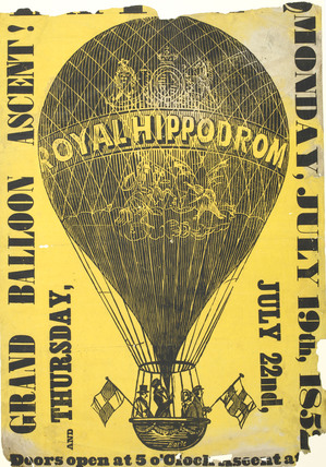 Poster of a balloon ascent at the Royal Hippodrome; 1852