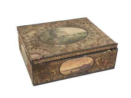 A rectangular wooden dressing case; 1781-1820