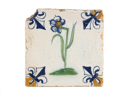 Tin-glazed earthenware tile: c. 1620-1640