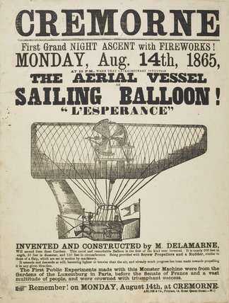 The ascent of 'The Aerial Vessel Sailing Balloon L'Esperance' 1865