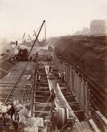 King George V Dock under construction.