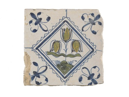 Tin-glazed earthenware tile: c. 1636-1665