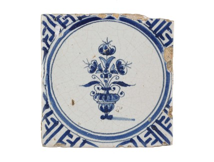 Dutch tin-glazed earthenware tile: c. 1650-1680