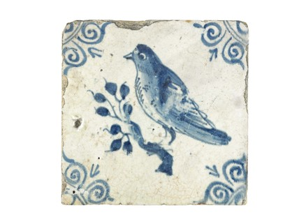 Tin-glazed earthenware wall tile: c. 1601-1650