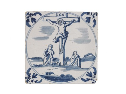 Tin-glazed earthenware tile: c. 1701-1750